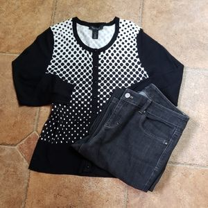 WHBM Black & White Ombre Dots Cardigan Sweater